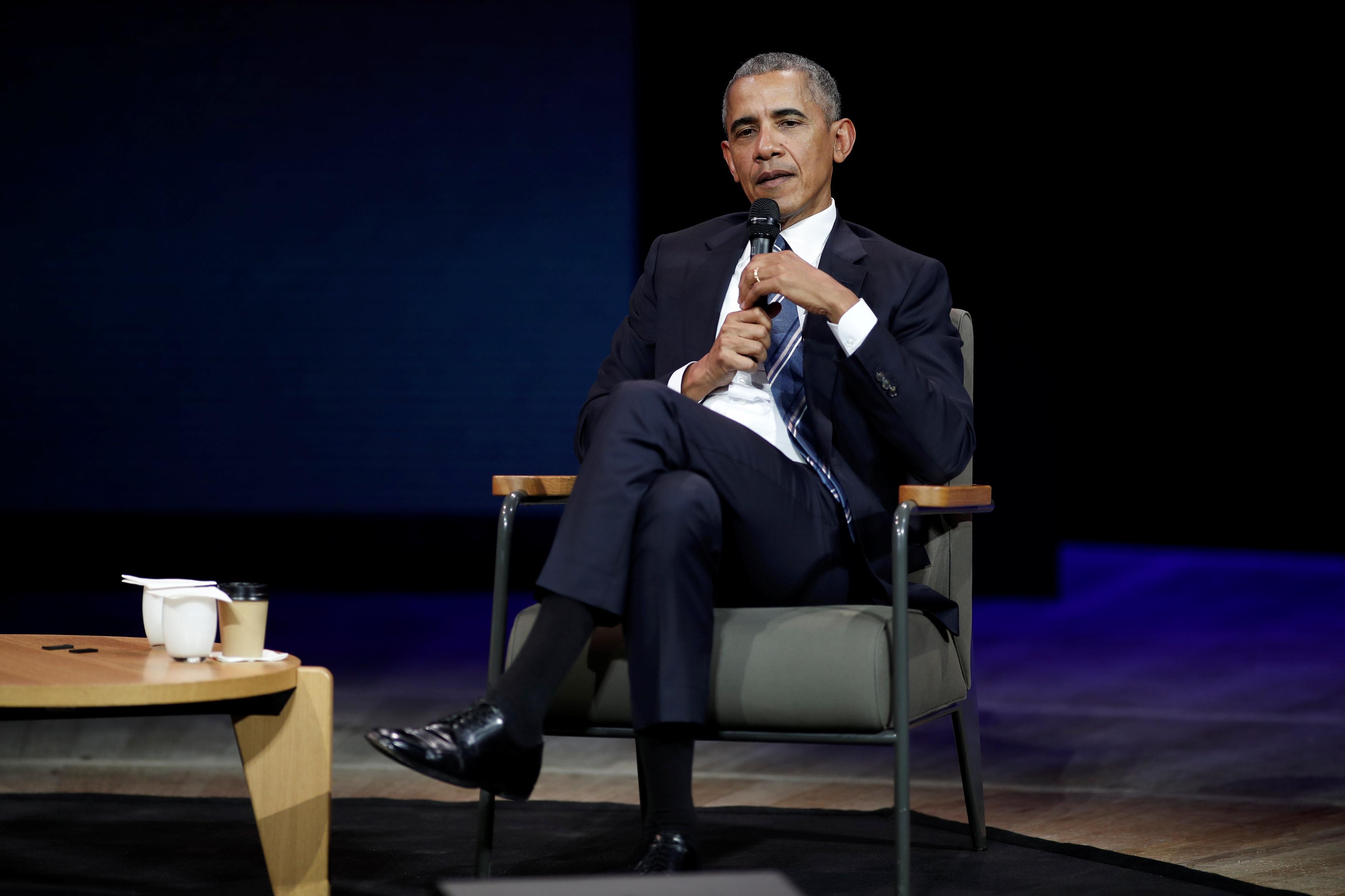 أوباما يتحدث للحضور