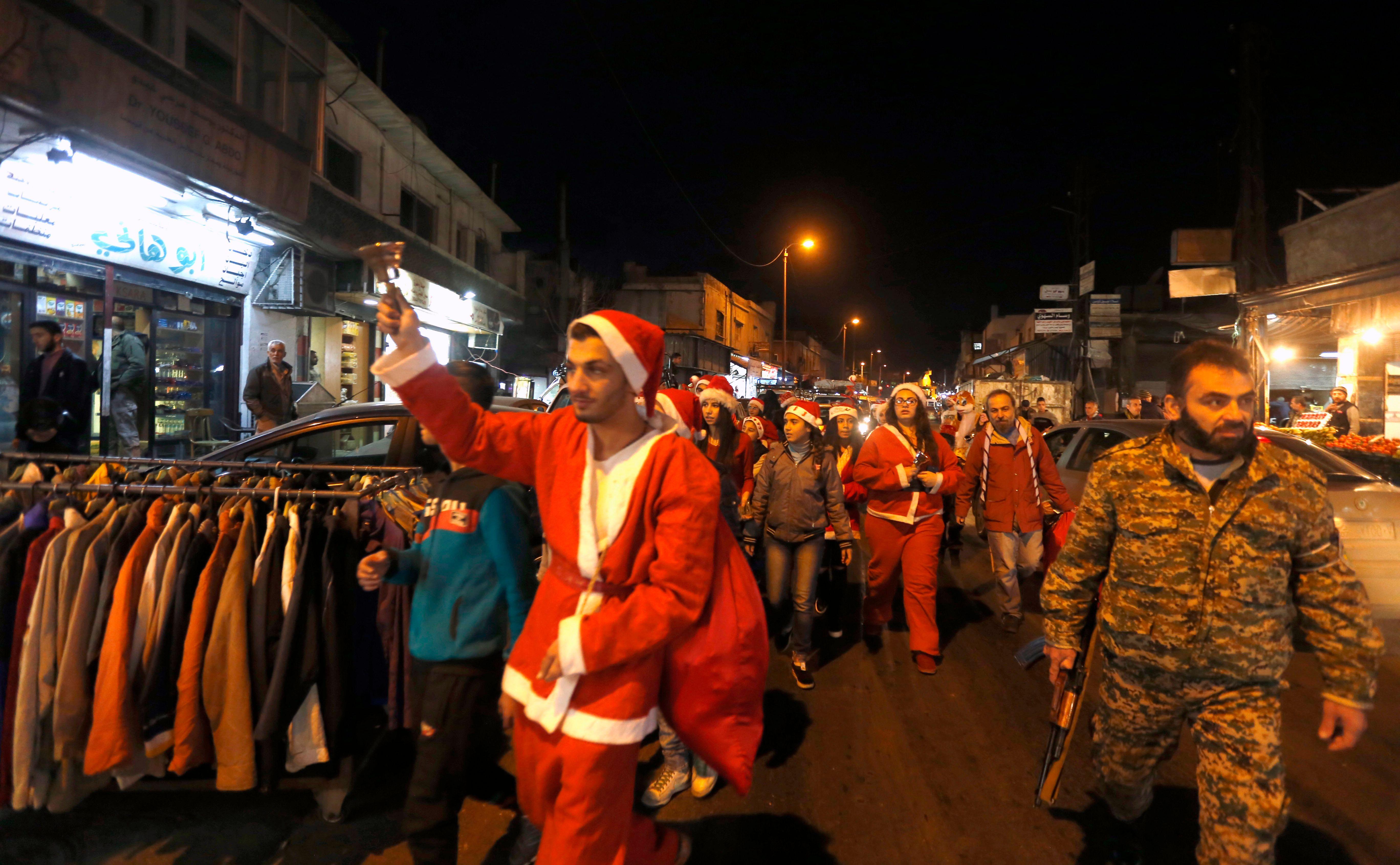 جانب من احتفالات السوريون بعيد الميلاد
