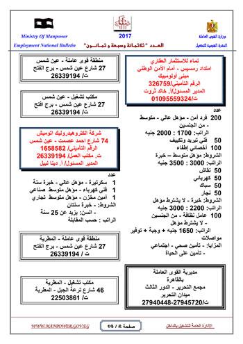 قائمة وزارة القوى العاملة بـ 5342 فرصة عمل حتى نهاية يناير (6)