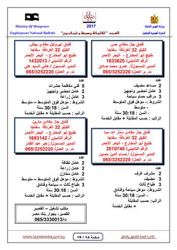 قائمة وزارة القوى العاملة بـ 5342 فرصة عمل حتى نهاية يناير (14)