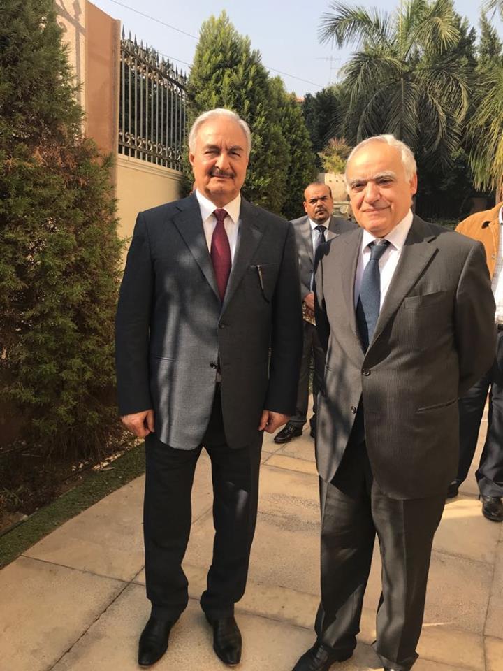 المشير حفتر وغسان سلامة فى القاهرة