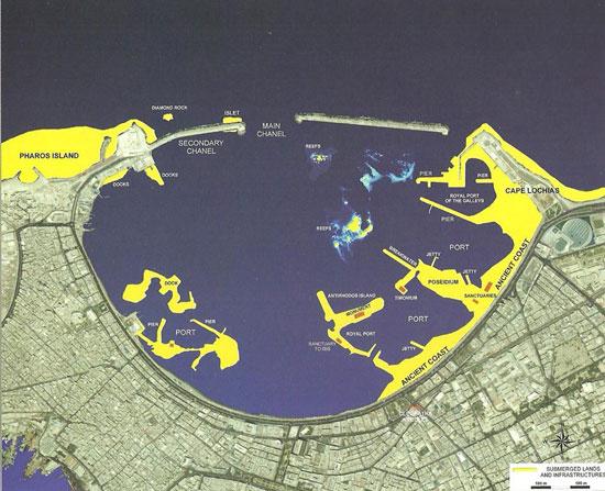 خريطة الميناء الشرقى توضح أماكن الاثار الغارقة
