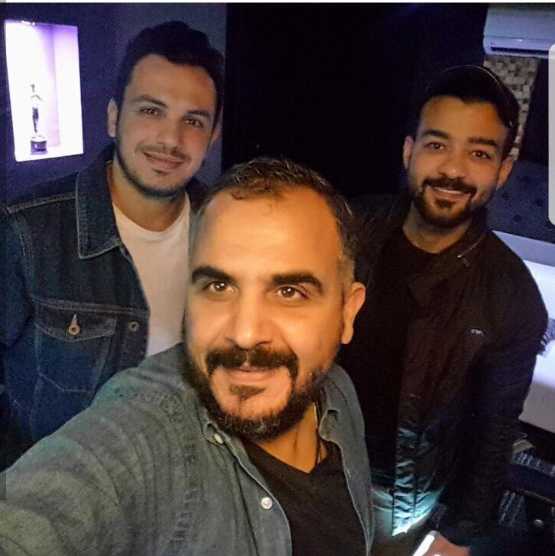 النجم هيثم شاكر مع الملحن وليد سعد والموزع أحمد إبراهيم