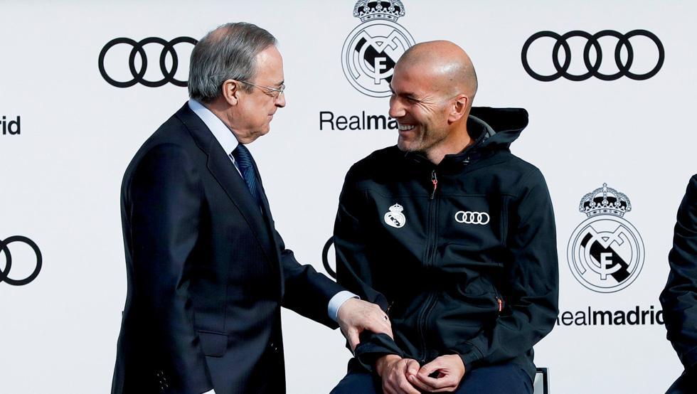رئيس ريال مدريد وزين الدين زيدان