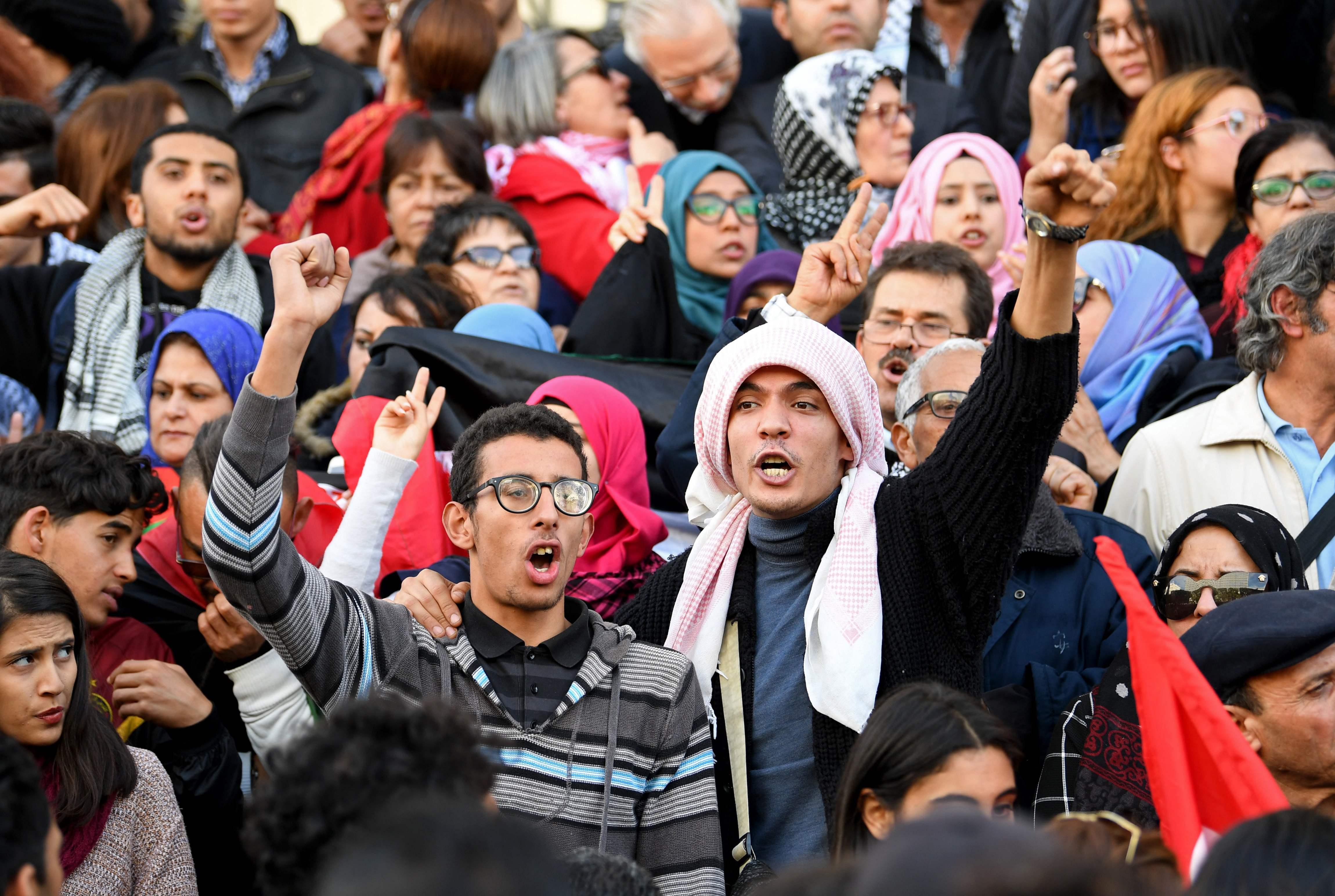 جانب من التظاهرات التونسية دعما للقدس