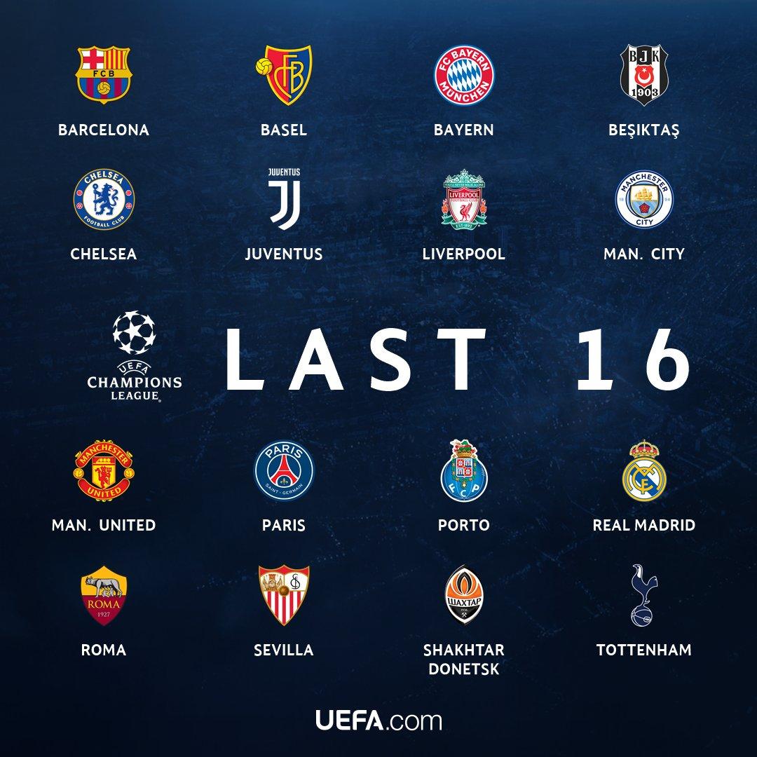 الفرق المتأهلة لدور الـ16 من دوري ابطال اوروبا