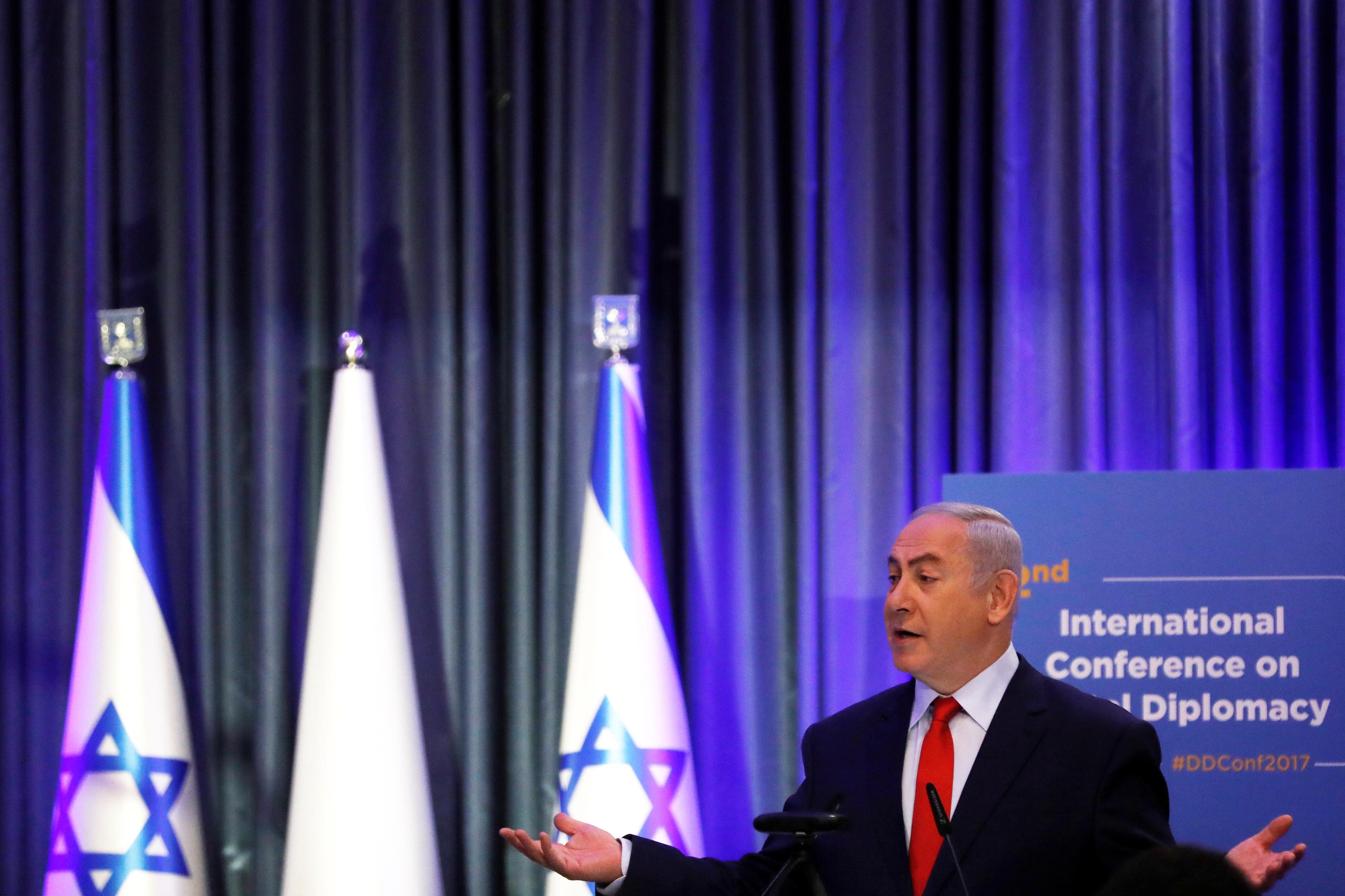 بنيامين نتانياهو فى مؤتمر بالقدس