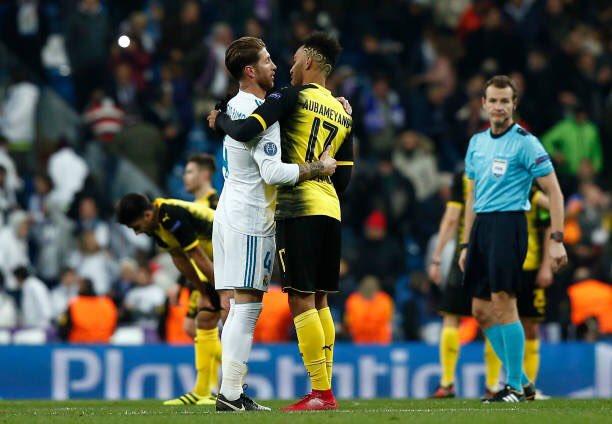 رونالدو وعناق مع أوباميانج بعد مباراة ريال مدريد وبوروسيا دورتموند