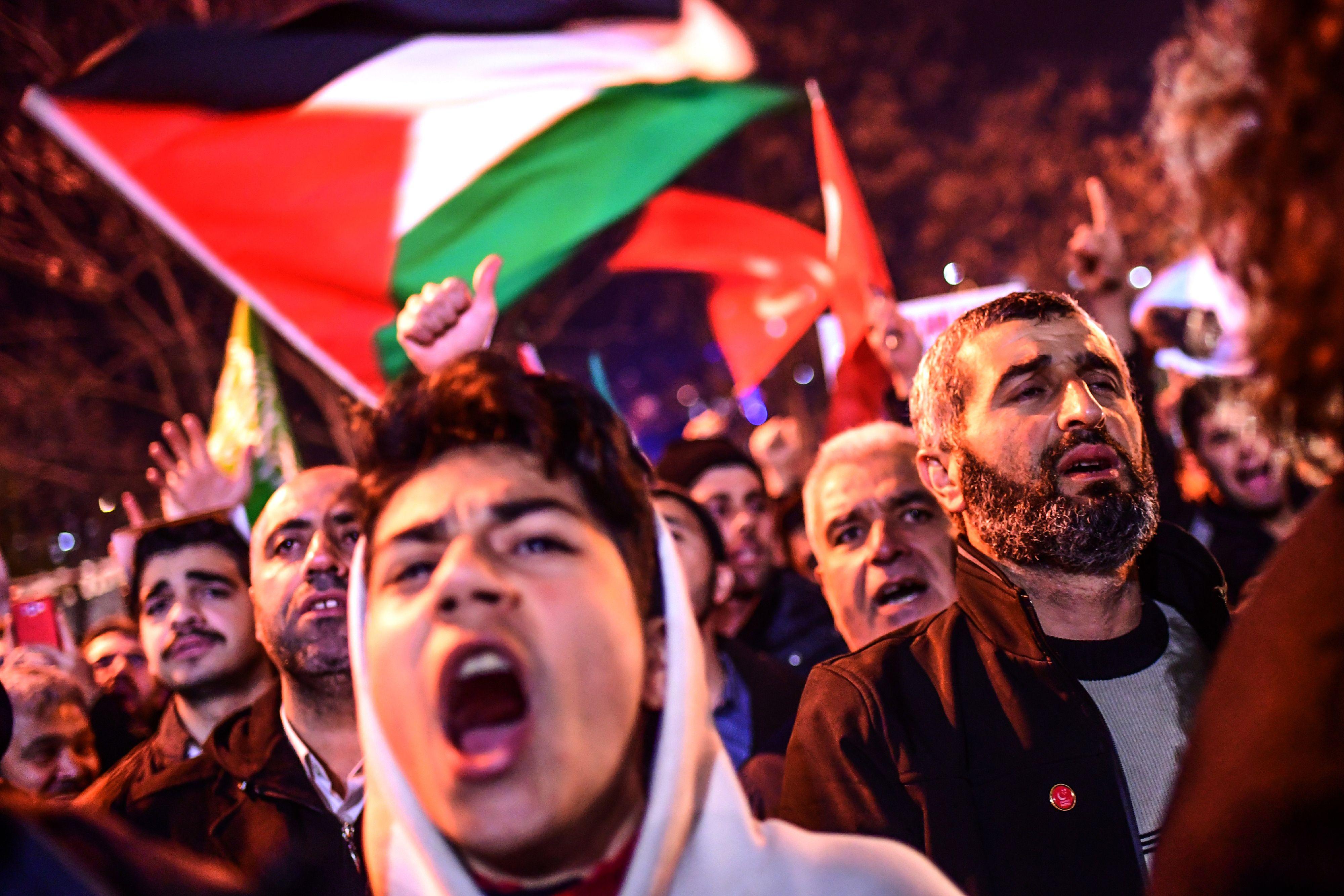 جانب من الاحتجاجات فى فلسطين