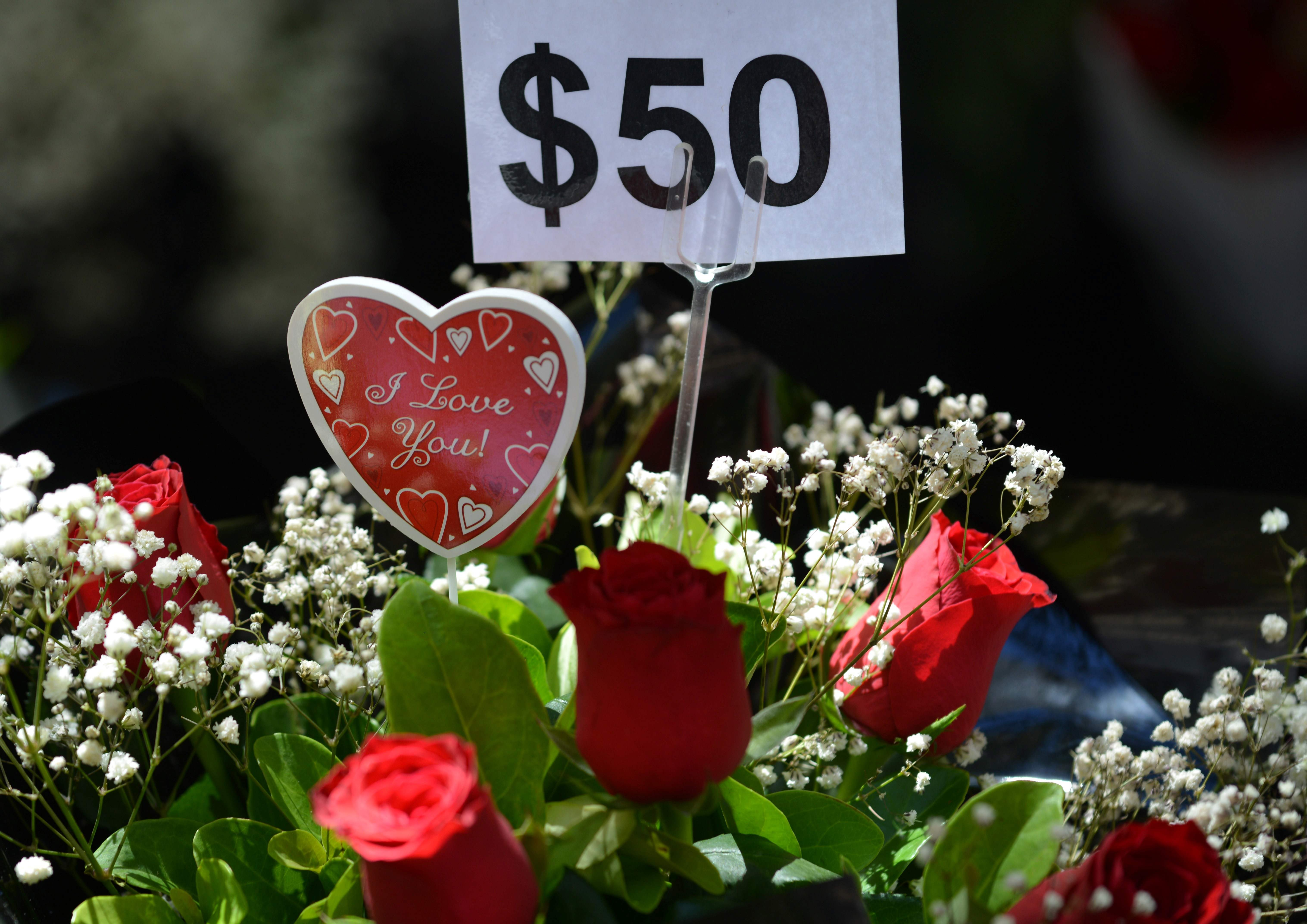 باقة ورد حمراء فى عيد الحب وعليها سعرها باستراليا