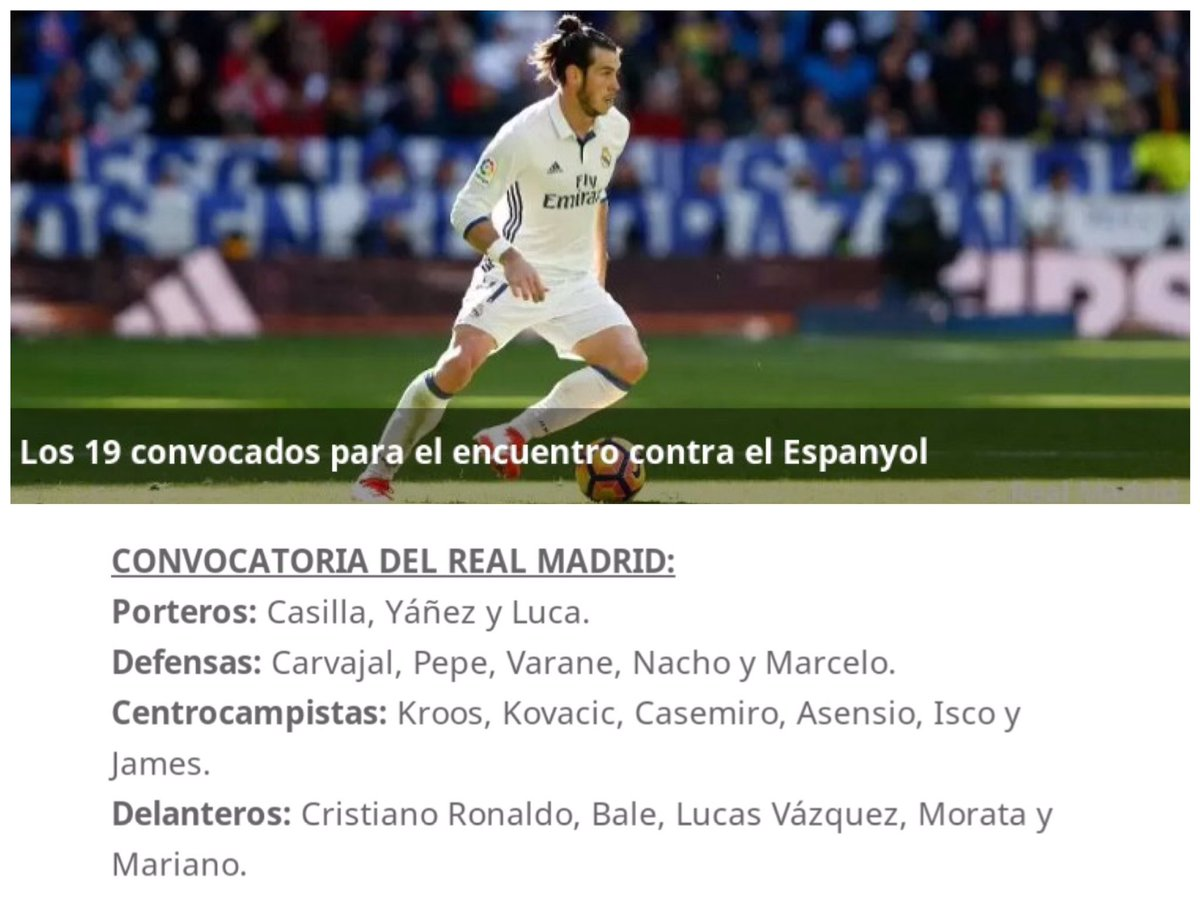 قائمة ريال مدريد ضد اسبانيول