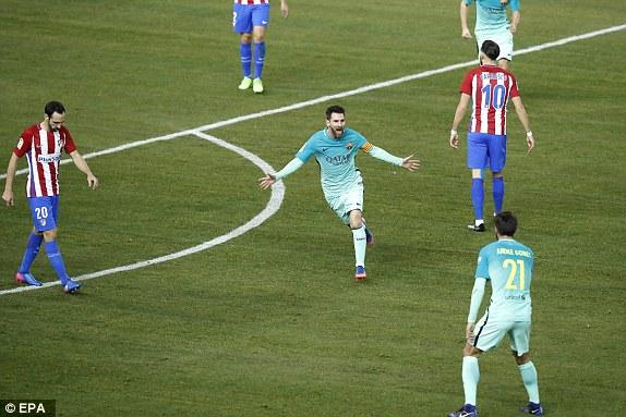 احتفال ميسي بهدفه الرائع أمام اتلتيكو مدريد فى الذهاب