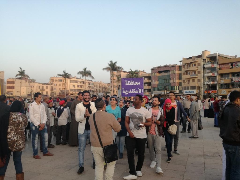 فرقة الإسكندرية للعروض الشعبية تشارك بالمسيرة