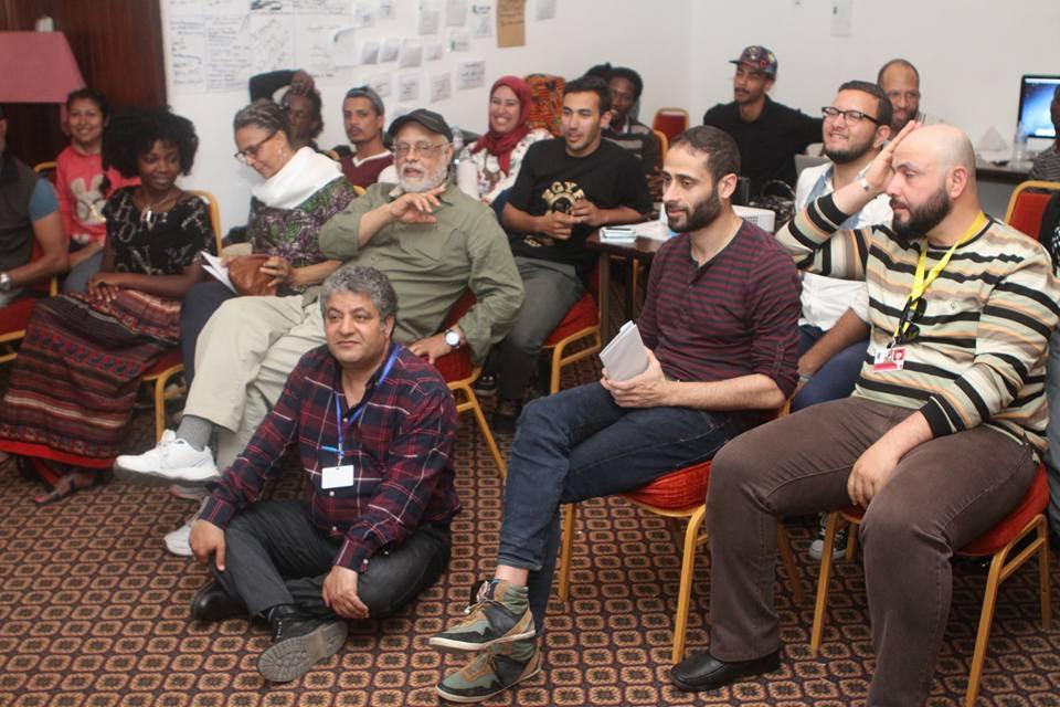 المخرج هايلي جريما في ورشته وحضور سيد فؤاد رئيس مهرجان الاقصر