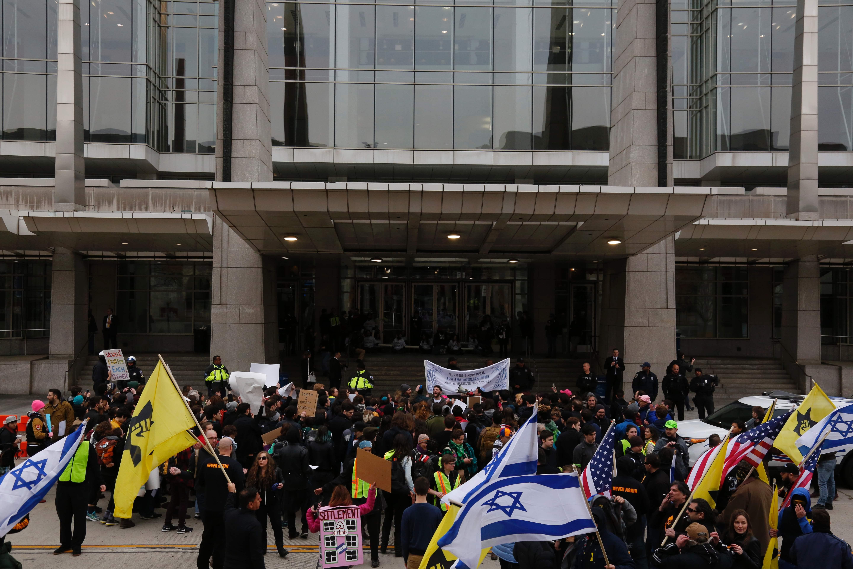 جانب من مظاهرات مؤيدى الاحتلال فى واشنطن