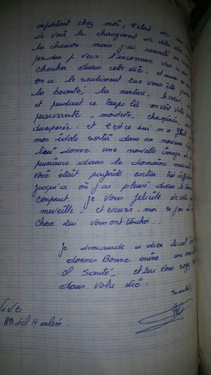 6 جواب مكتوب بالفرنسية للعندليب