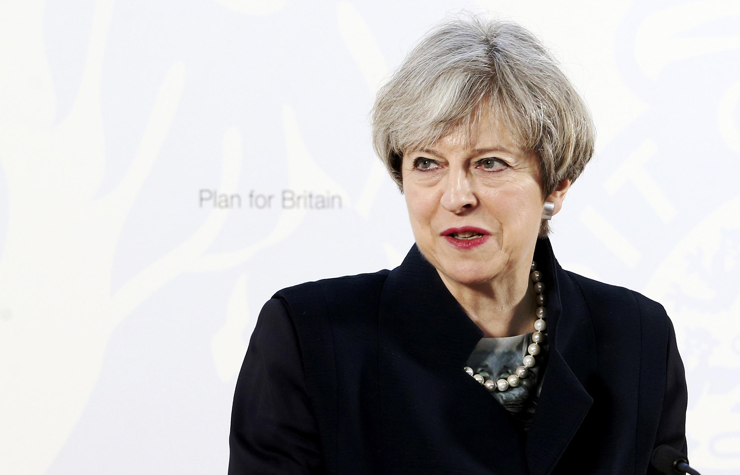 رئيسة الوزراء البريطانية أثناء كلمتها