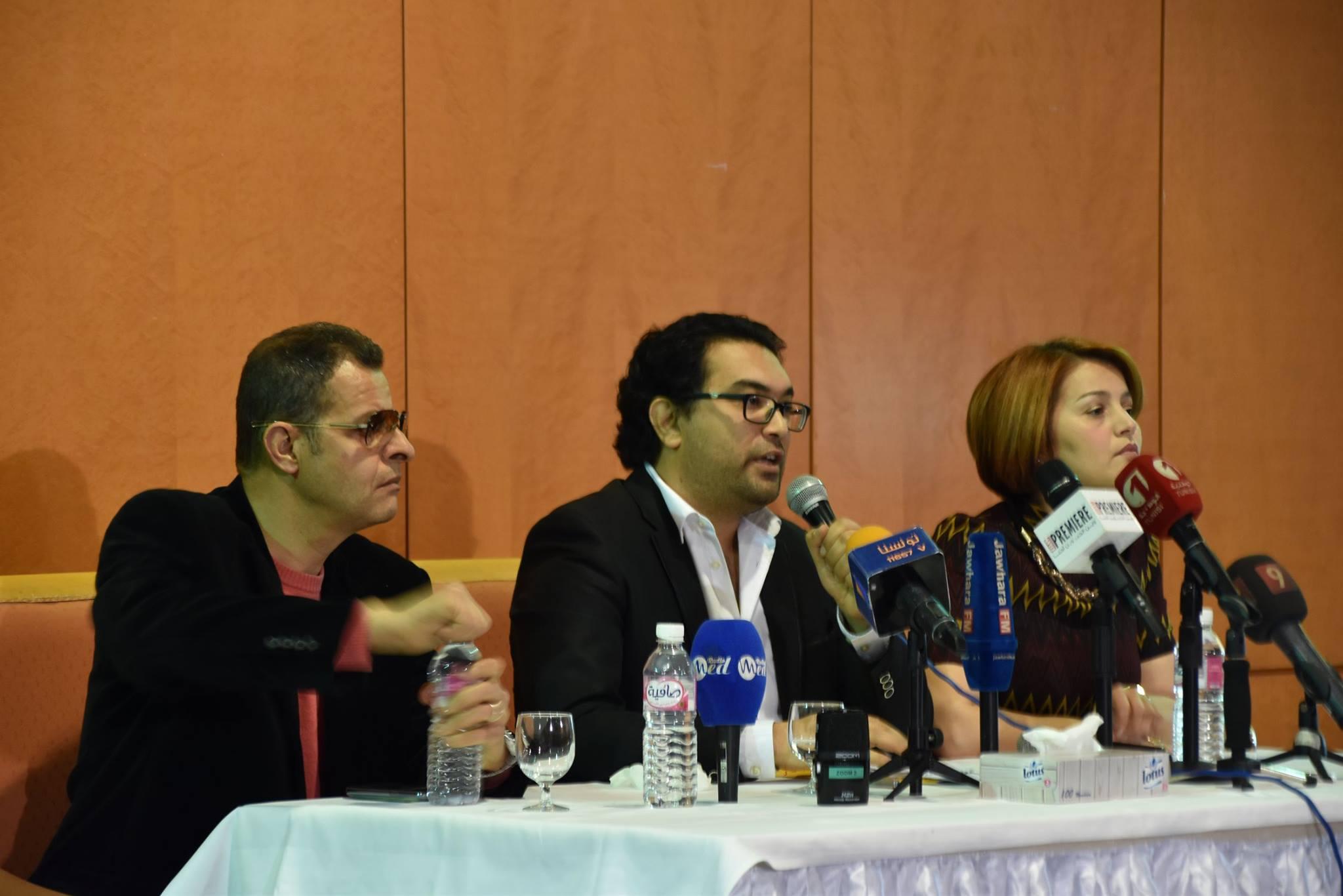 حمدي مخلوف وجانب من المؤتمر الصحفي