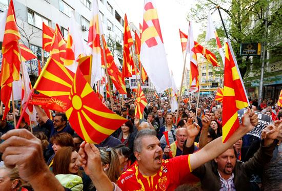 تظاهرات فى مقدونيا احتجاجا على استخدام اللغة الألبانية كلغة رسمية ثانية