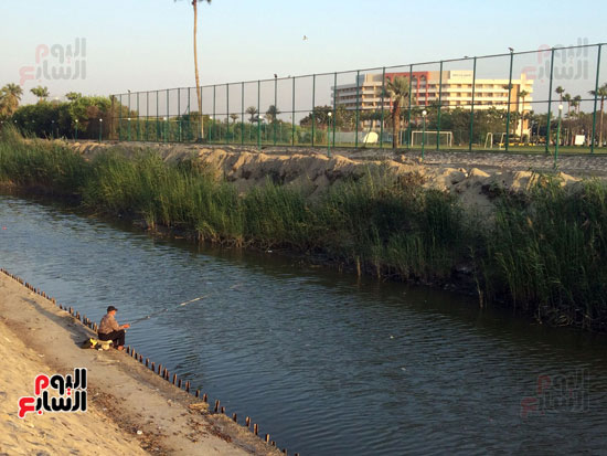 مع قلة  اماكن الصيد في الاسماعيلية  يتجمع الهواة  علي  ترعة  مفيض  بحيرة التمساح