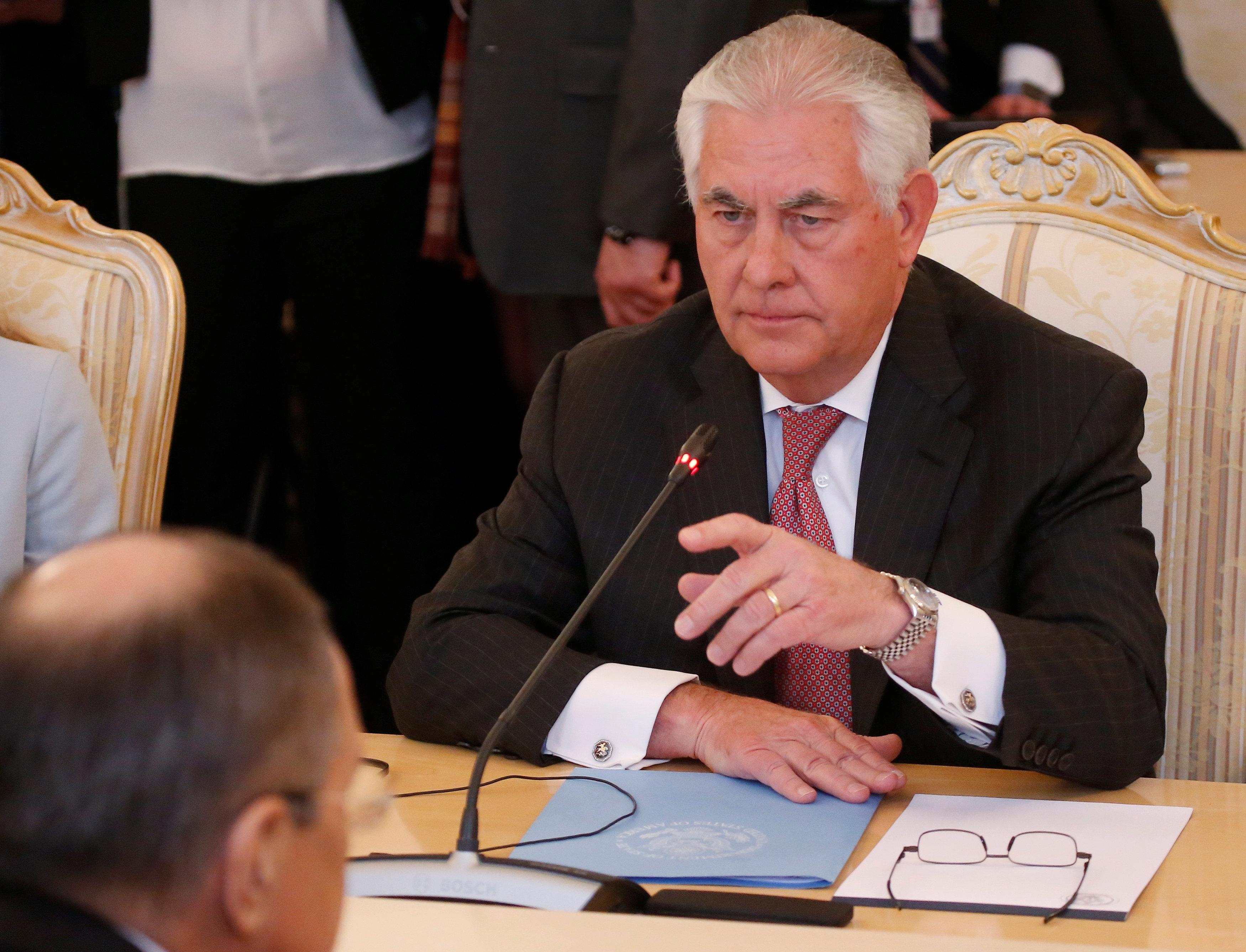 وزير الخارجية الأمريكى خلال لقاء نظيره الروسى