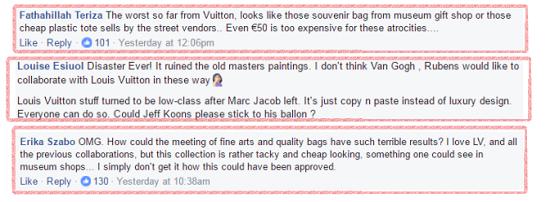جانب من التعليقات الغاضبة على الحقائب