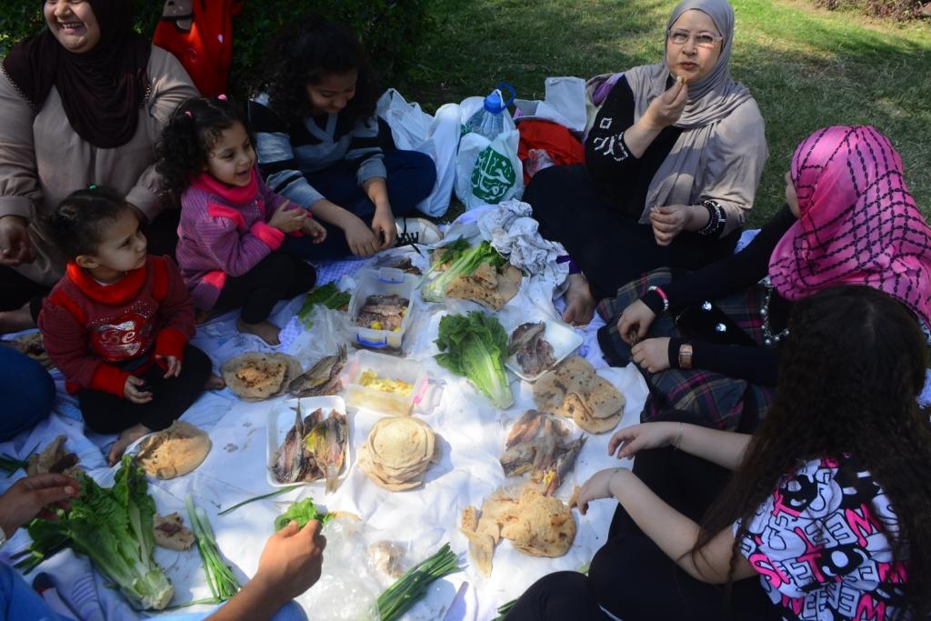 أسرة تحتفل بشم النسيم فى الحديقة