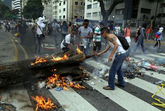 المتظاهرون يشعلون النيران فى شجرة