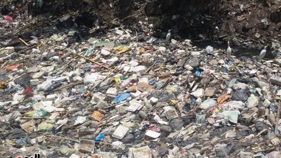 القمامة تغطى مجرى الترعة
