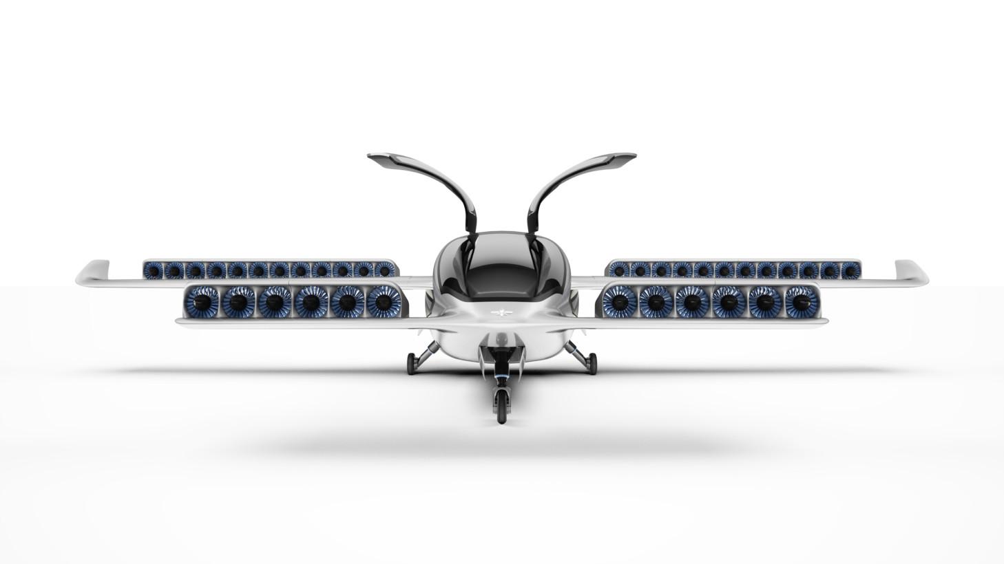 lilium-jet-silver-front-diagonal-doors-open-with-gear