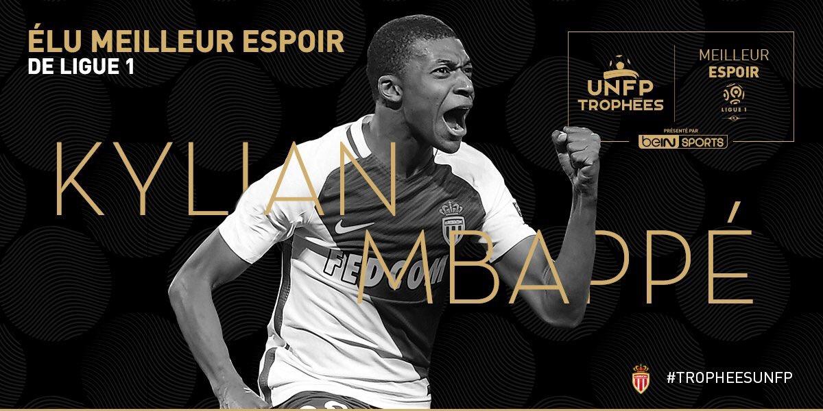كليان مبابى افضل لاعب صاعد فى الدوري الفرنسي
