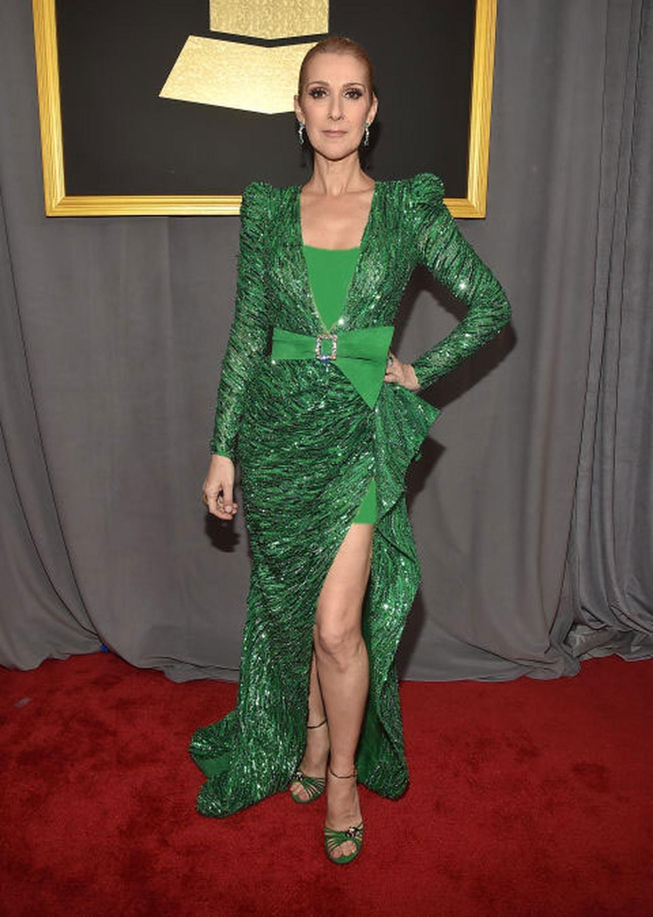 سيلين ديون بفستان أخضر من تصميم زهير مراد