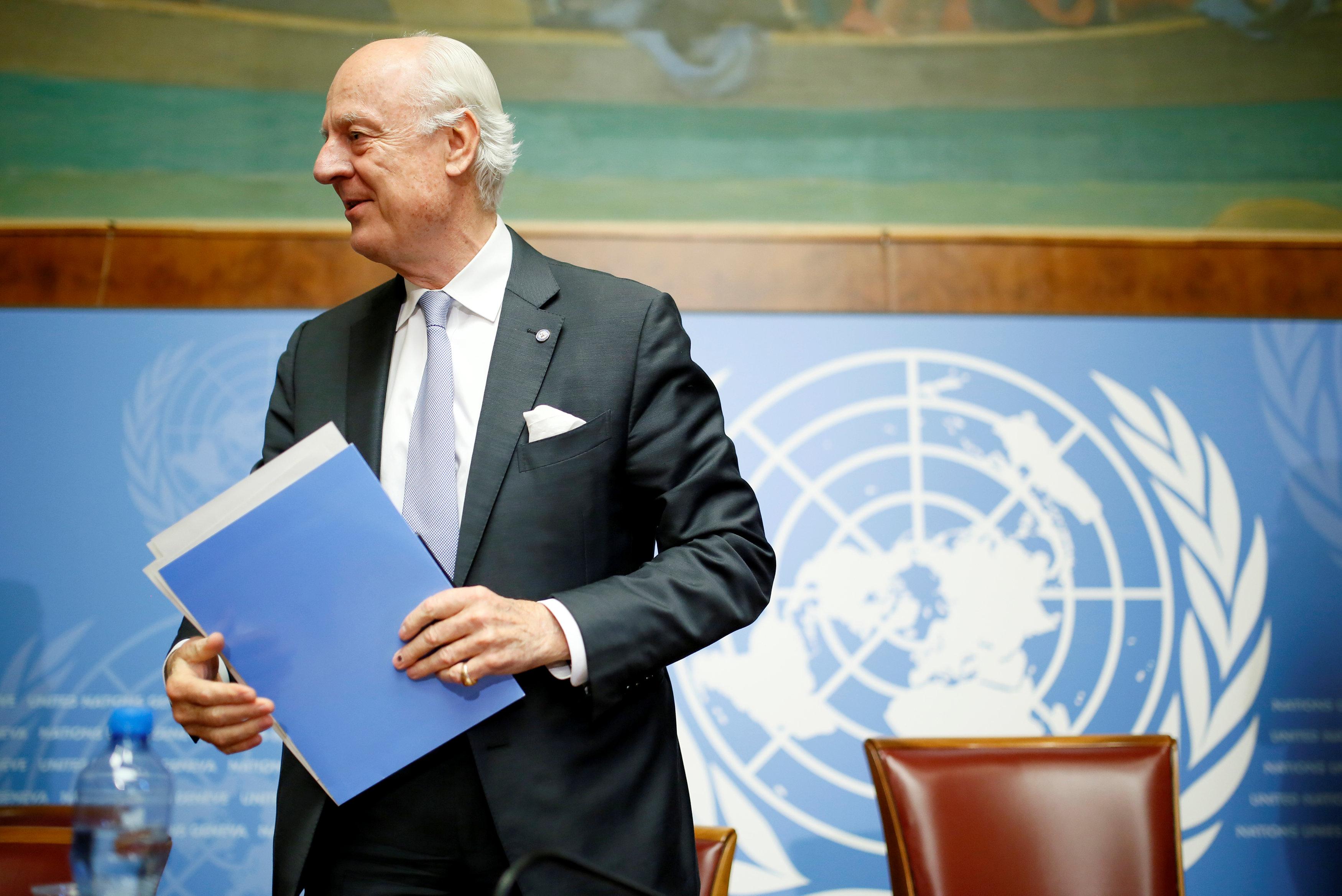 المبعوث الأممى أثناء مؤتمر جنيف