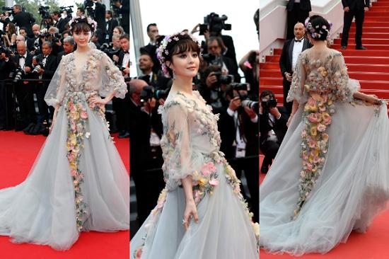 فستان مرصع بالزهور لفان بينج بينج من مارشيزا عام 2015