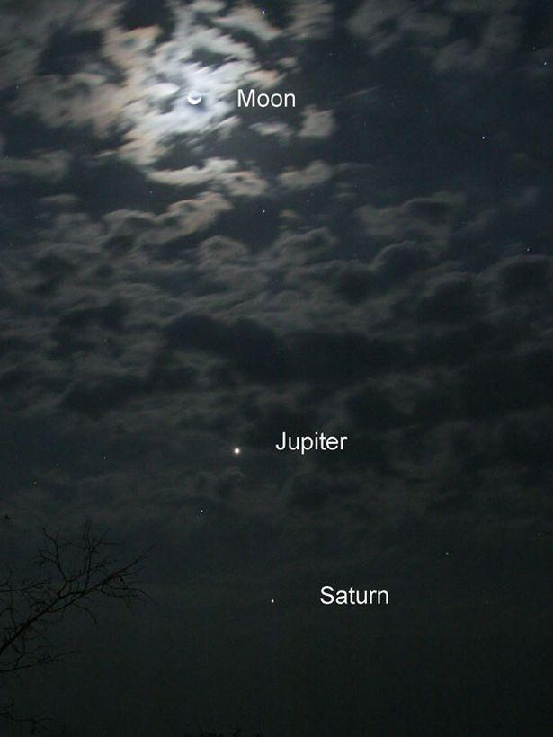 الكواكب بجانب القمر
