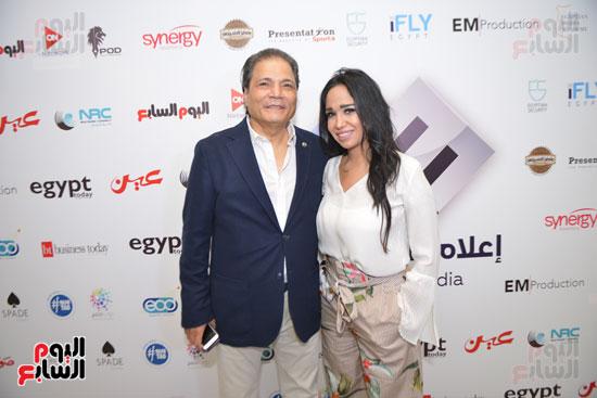 """الإعلامى مصطفى السقا رئيس قناة """"on e"""" ومى أبو هشيمة رئيس القطاع التجارى بمجموعة إعلام المصريين"""