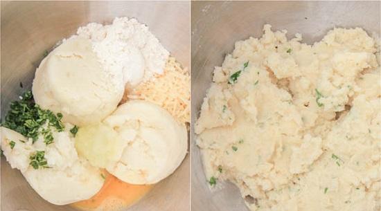 اخلطى البطاطس المهروسة مع البيض والدقيق