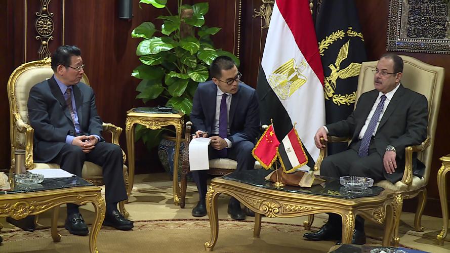 اللواء مجدى عبد الغفار وزير الداخلية يستقبل  تشن زيمين نائب وزير الأمن العام الصينى