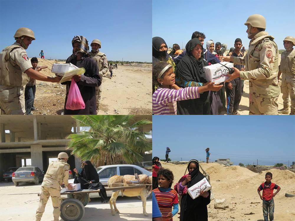 الجيش الثانى يوزع حصص تموينية مجانية بشمال سيناء
