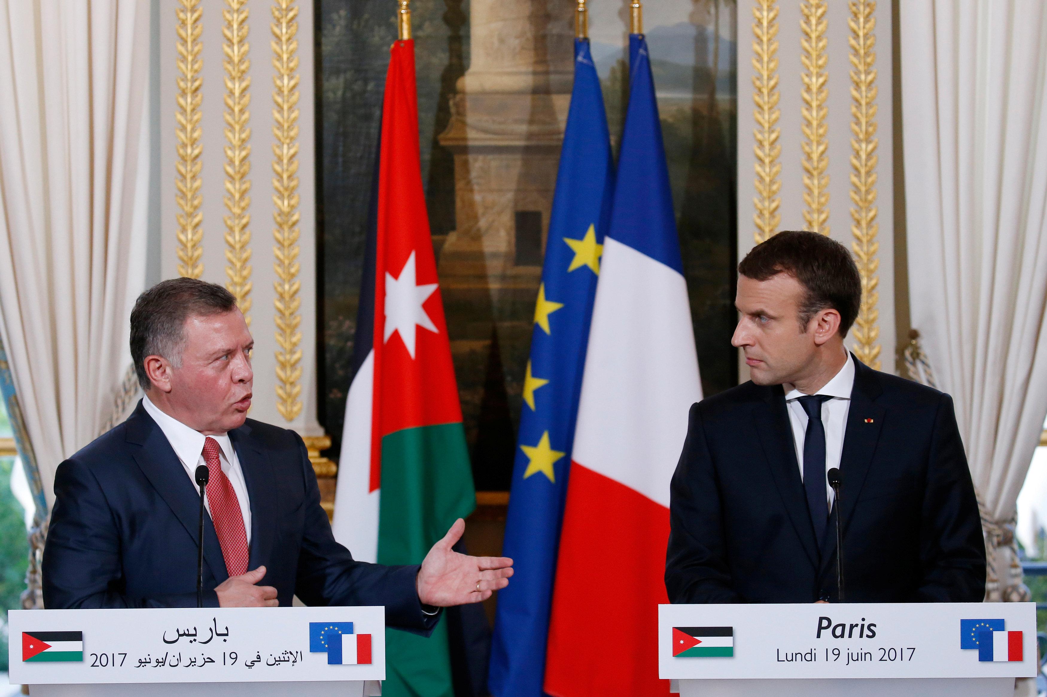 مؤتمر مشترك بين ملك الأردن ورئيس فرنسا
