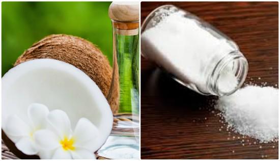 الملح وزيت جوز الهند