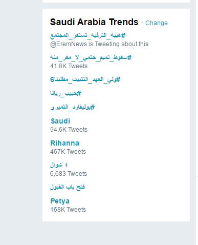 قائمة التريند في  السعودية