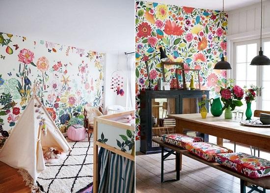 ورق الحائط المنقوش بألوان زاهية على جدار واحد