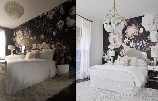 ورق الحائط المنقوش بالورود فى غرفة النوم