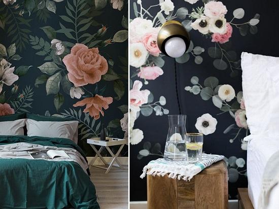 ورق الحائط الورد خلف السرير