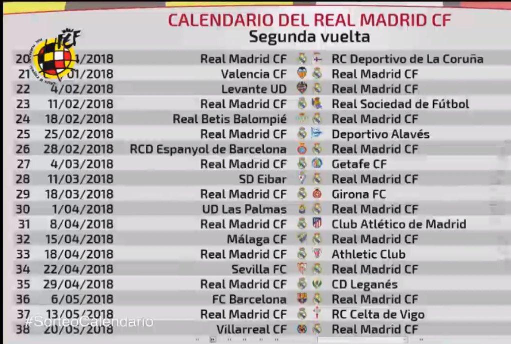 جدول مباريات ريال مدريد فى الدور الثانى بالليجا