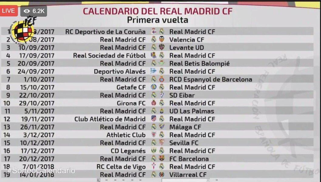 جدول مباريات ريال مدريد فى الدور الاول بالليجا