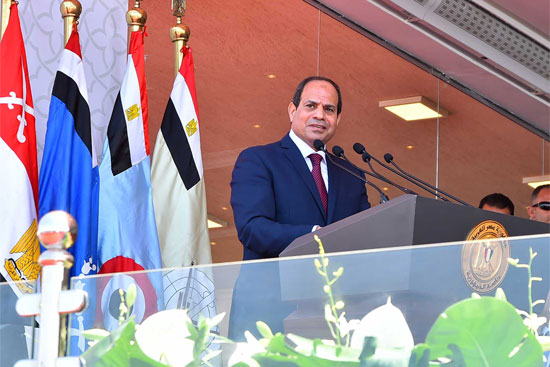 الرئيس عبد الفتاح السيسي أثناء حفل افتتاح القاعدة