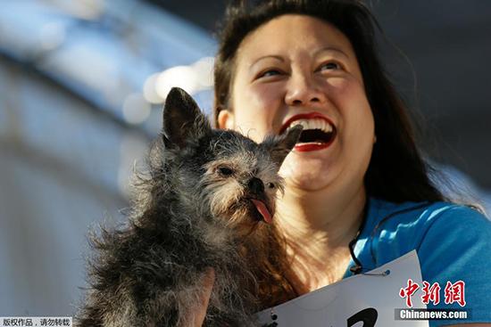 أحد المشاركين فى مشاركة اقبح كلب بالعالم