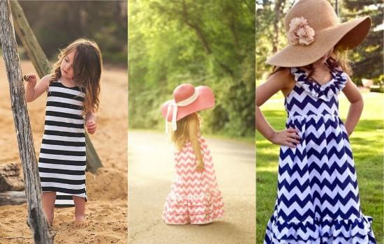 الفستان الطويل المقلم
